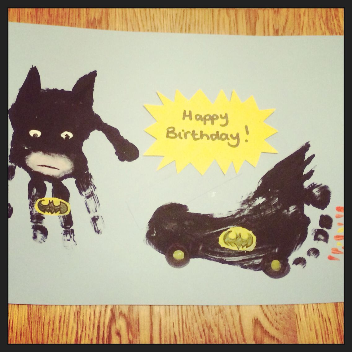 Batman And Bat Mobil Handprint Footprint Card