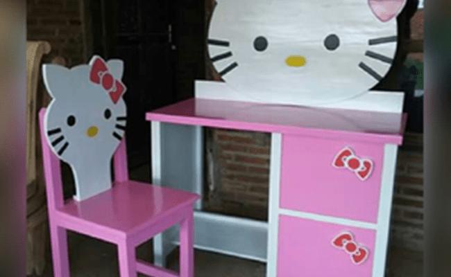 Jual Meja Belajar Hello Kitty Terbaru Cat Duco Model Meja