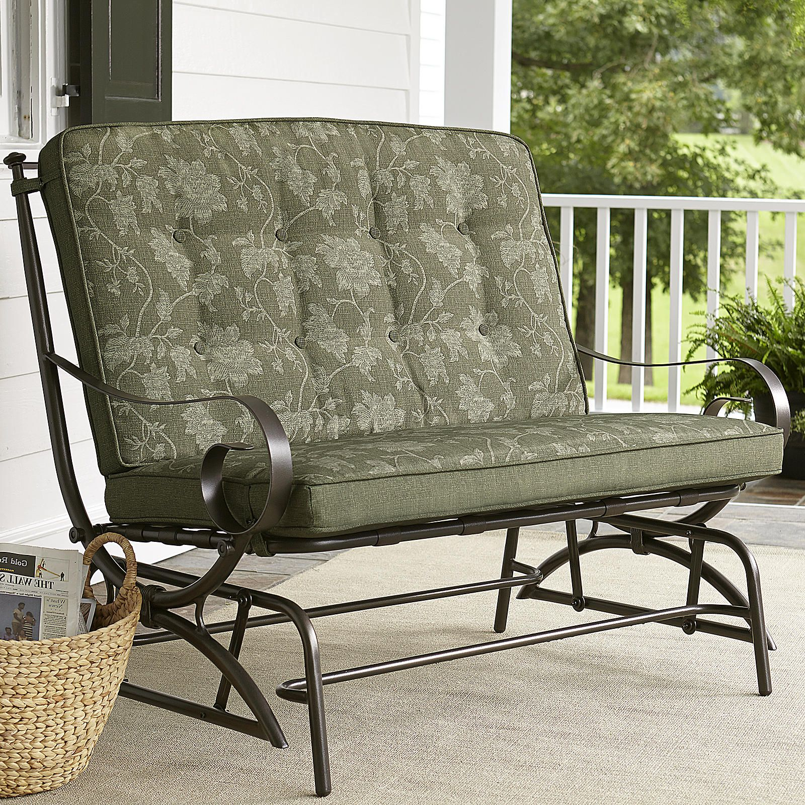 Glider Patio Chairs Jaclyn Smith Cora Cushion Double Glider Outdoor Living