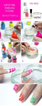 easy water marble nail art technique