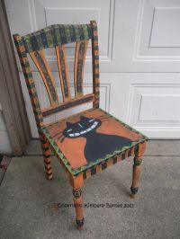 Halloween Hand Painted Cat Chair Folk by KimberlyBarnesArt ...