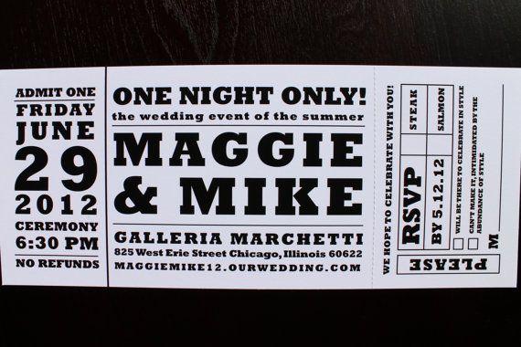 Concert Ticket Wedding Invitations Template