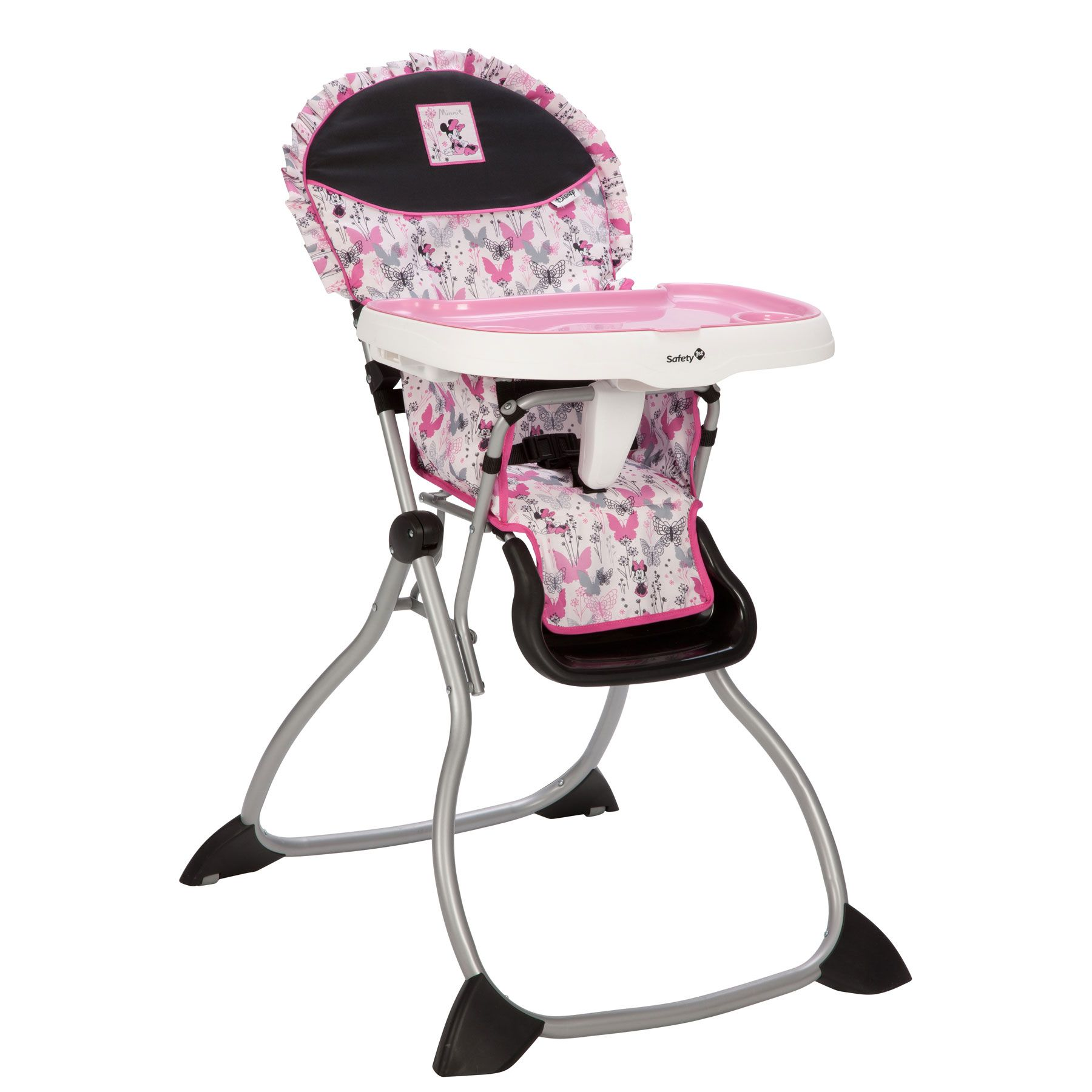 This pink, grey and black Minnie Mouse high chair is as