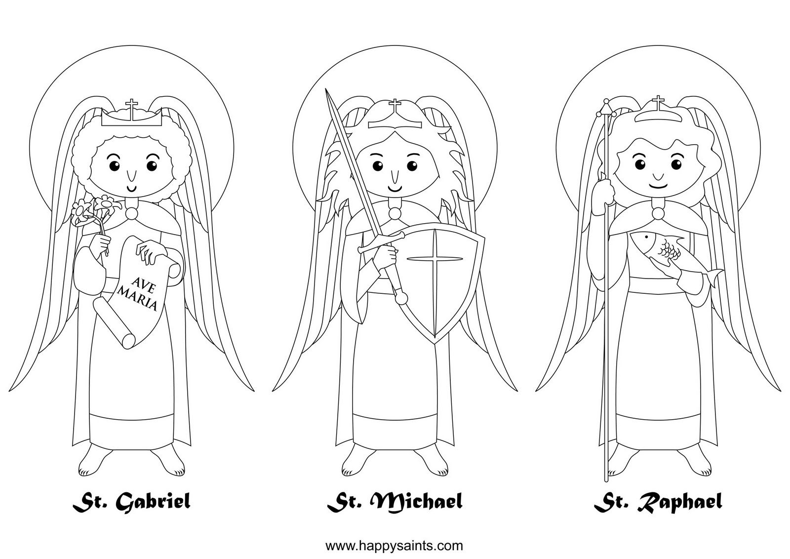 Happy Saints Archangels Catholic Coloring Page Feast Day Of The Archangels St Michael St