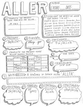 French verb Aller ~worksheet ~verb conjugation