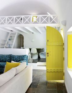 Santorini summer house interior greece love the fresh vibrancy this yellow green adds also rh pinterest