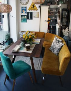 This might be my dream nook love the mustard bench and aquamarine chair mid century table also pin by lee on first place pinterest vintage furniture rh