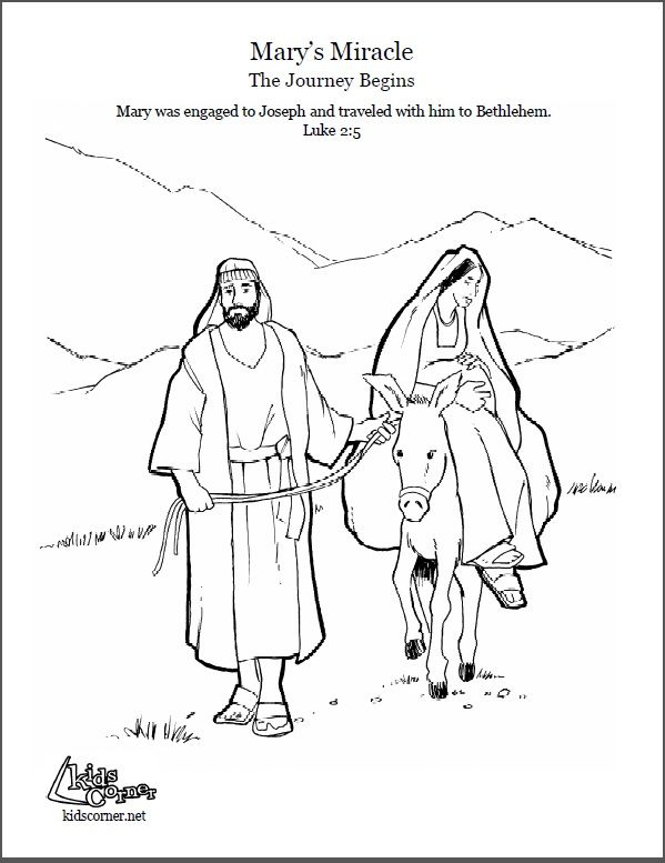 The Story of Mary: Mary's Journey- coloring page, audio
