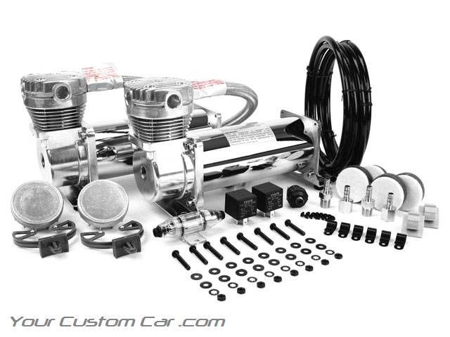 viair 480c, chrome air compressor, dual pack, air bag