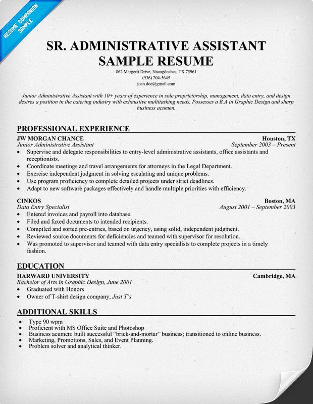 Catering Administrative Assistant Sample Resume - Template
