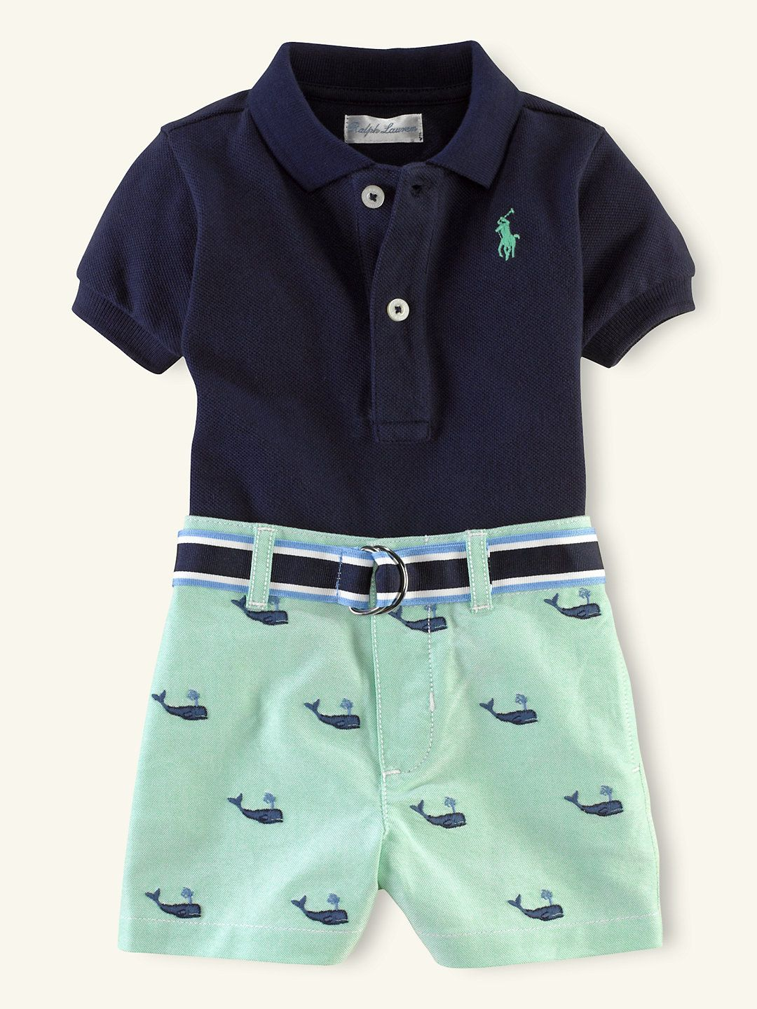 Polo schiffli short set outfits gift sets layette