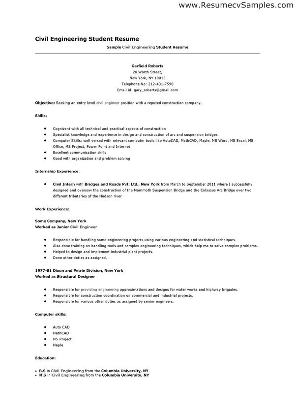 Blank Resume Format For Civil Engineering Jobresumesample