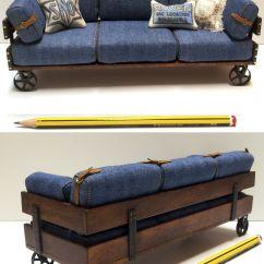 Dollhouse Miniature Sectional Sofa Free Bed Newbury 1 12 Scale Materiales Madera De Haya Tejido Jeans