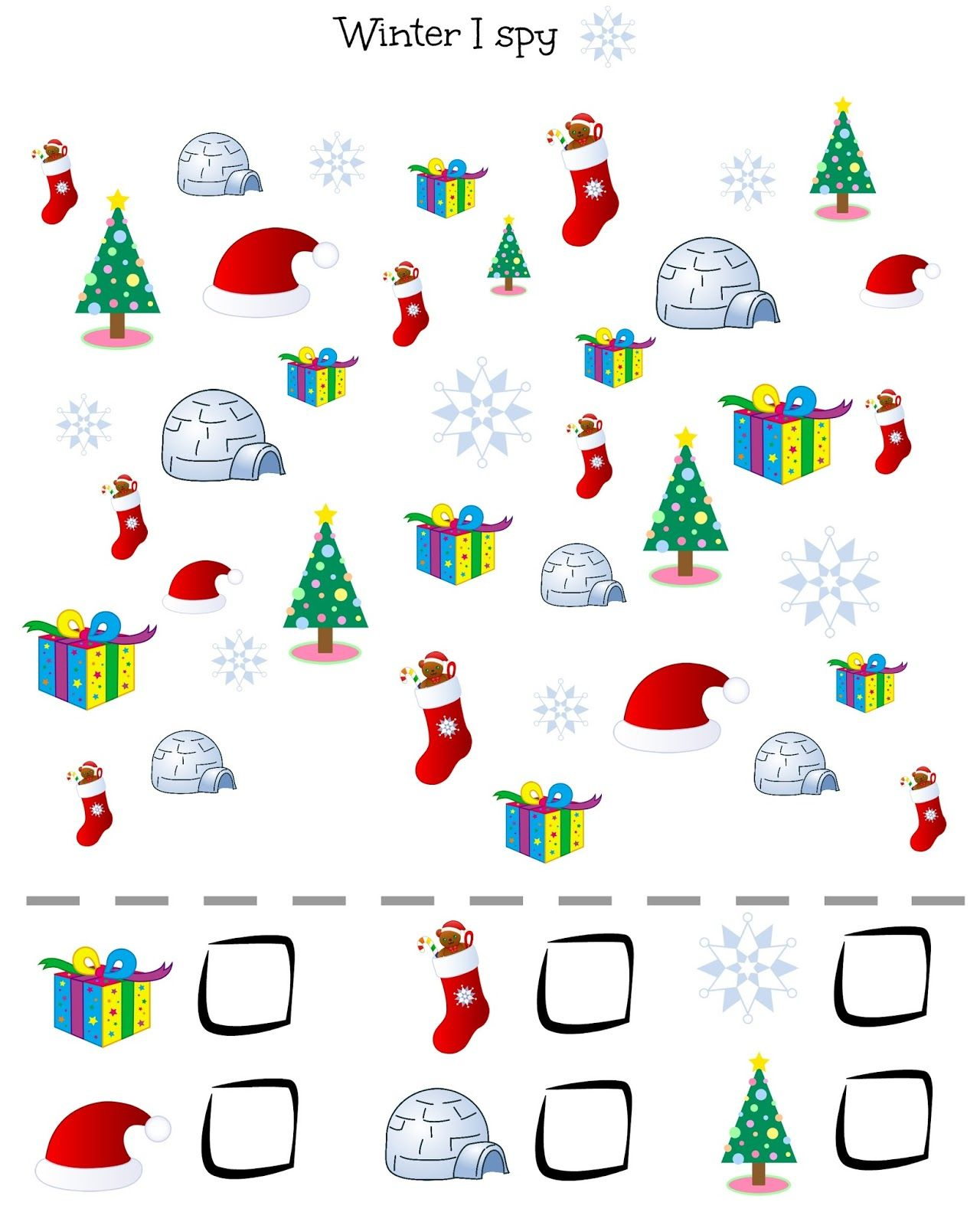 Vocabulary Winter Christmas I Spy Kids Young Learners