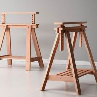 Beech Wood Desk Table Leg Trestle with Shelf , Height and ...
