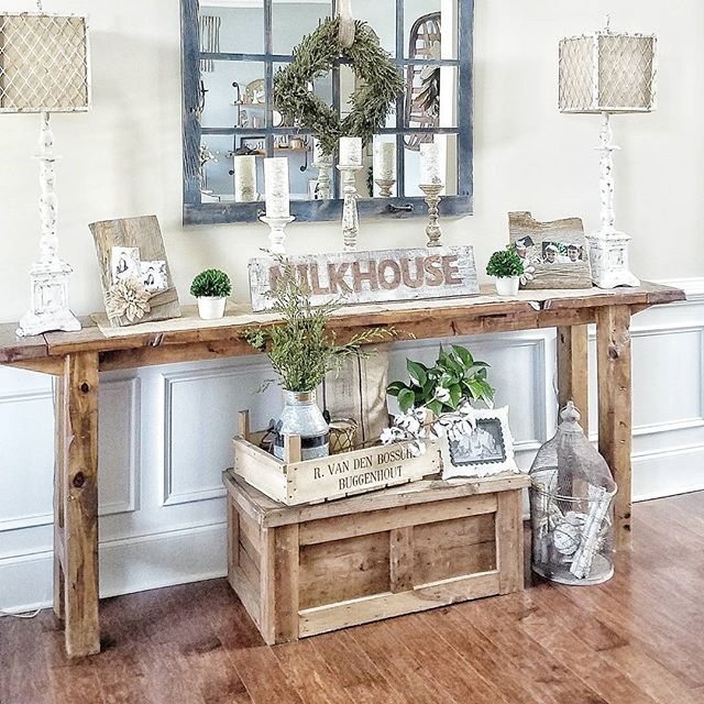 Farmhouse foyer table and mirror