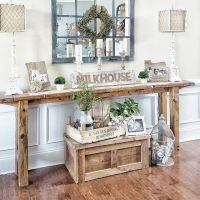 Farmhouse foyer table and mirror | Home: Foyers & Entries ...