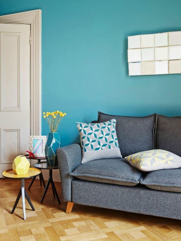 Deco Salon Bleu Canard Peinture Mobilier Et Accessoires Also Salons Rh  Pinterest
