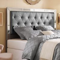 Silver Queen/Full Size Upholstered Tufted Mirrored ...