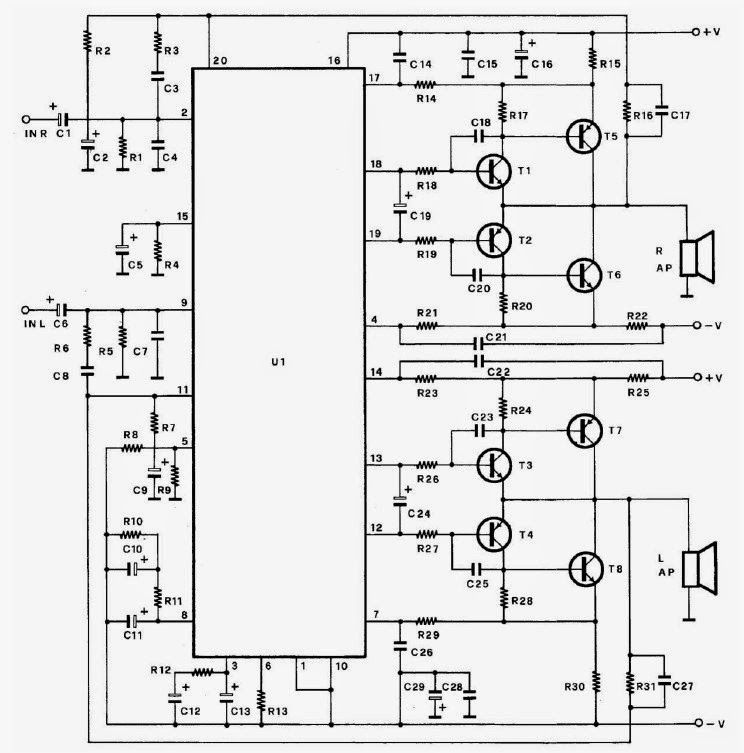 2n3055 Transistor Used Public Address Amplifier Circuit