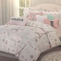 7pc Paris Bedding Set Eiffel Tower Pink Aqua TWIN