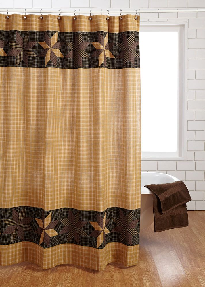 VHC Brands Amherst Cotton Shower Curtain  Rustic