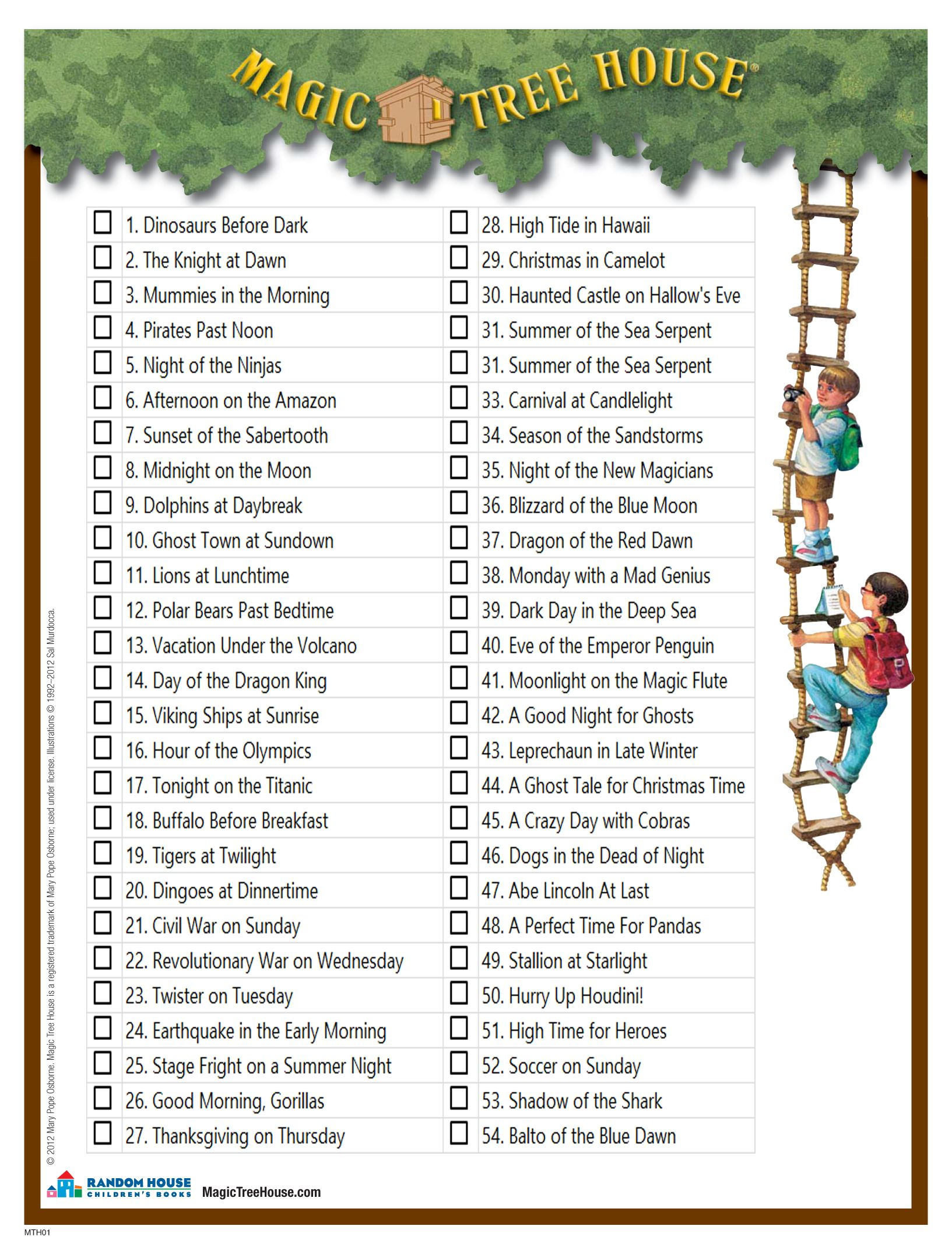 A Checklist Of All The Books In The Magic Tree House