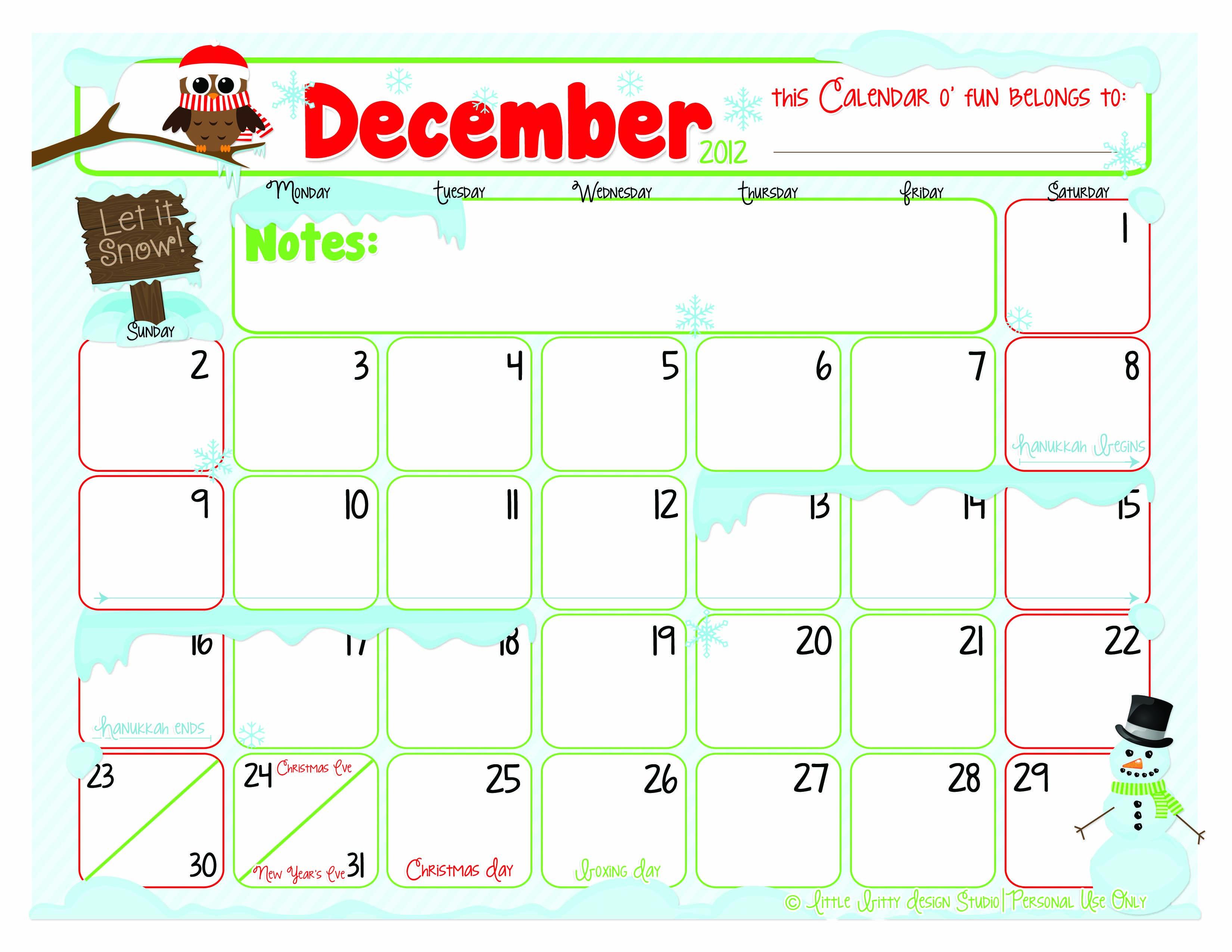 Cute Calendar December