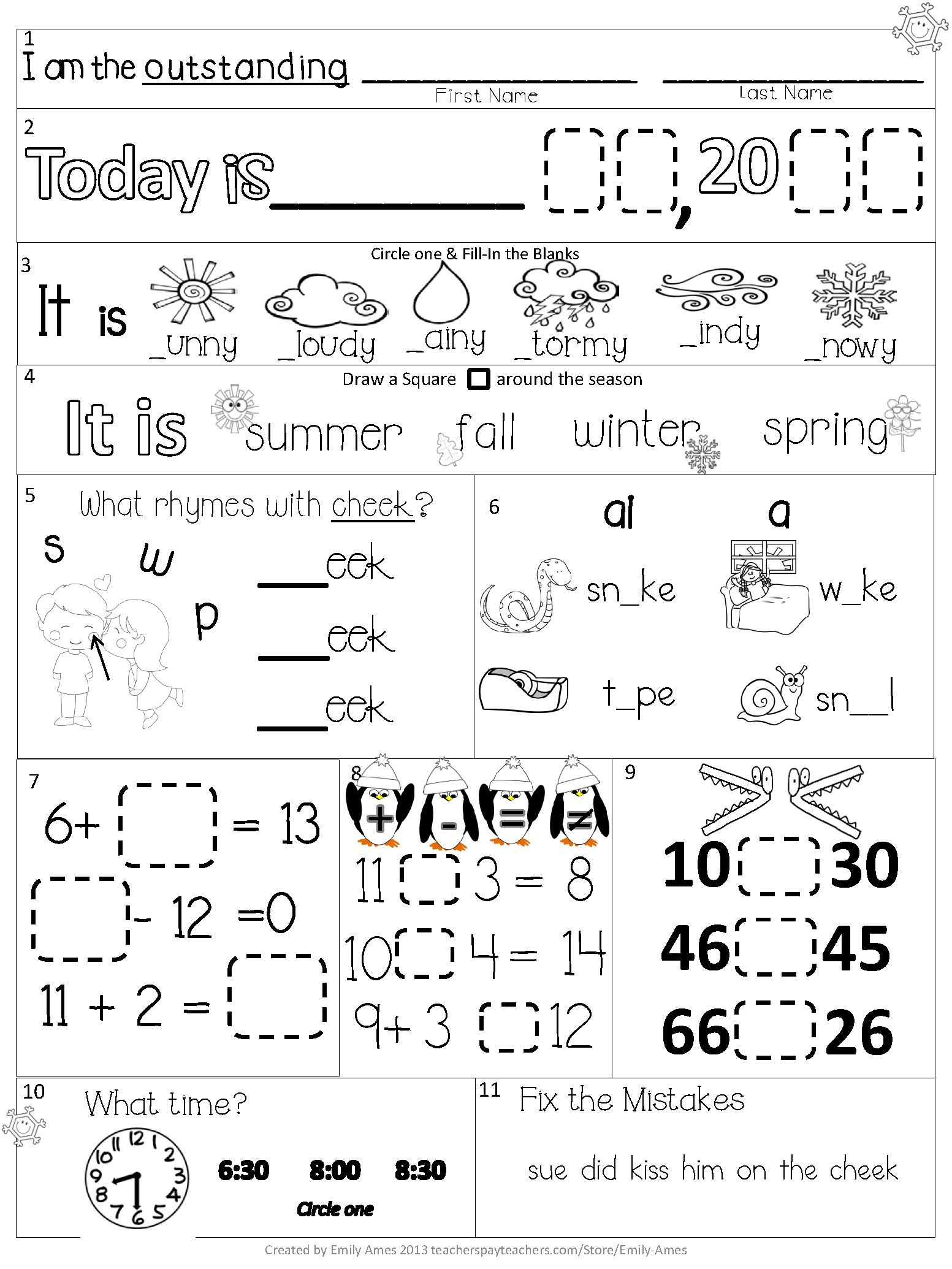 Common Core Worksheet 1st Grade