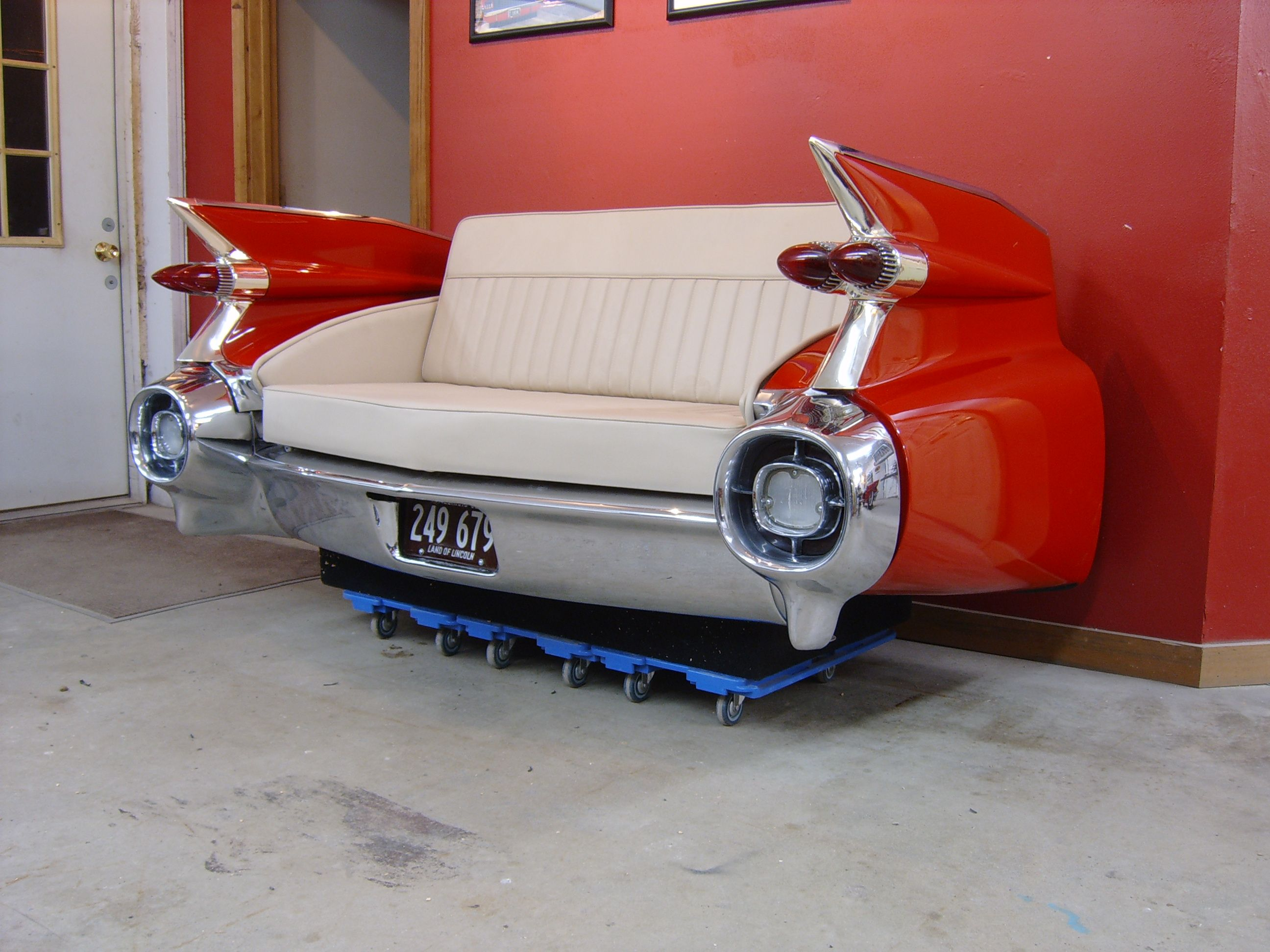 cars sofa chair wooden sets designs india cadillac couch garage and man cave pinterest unique