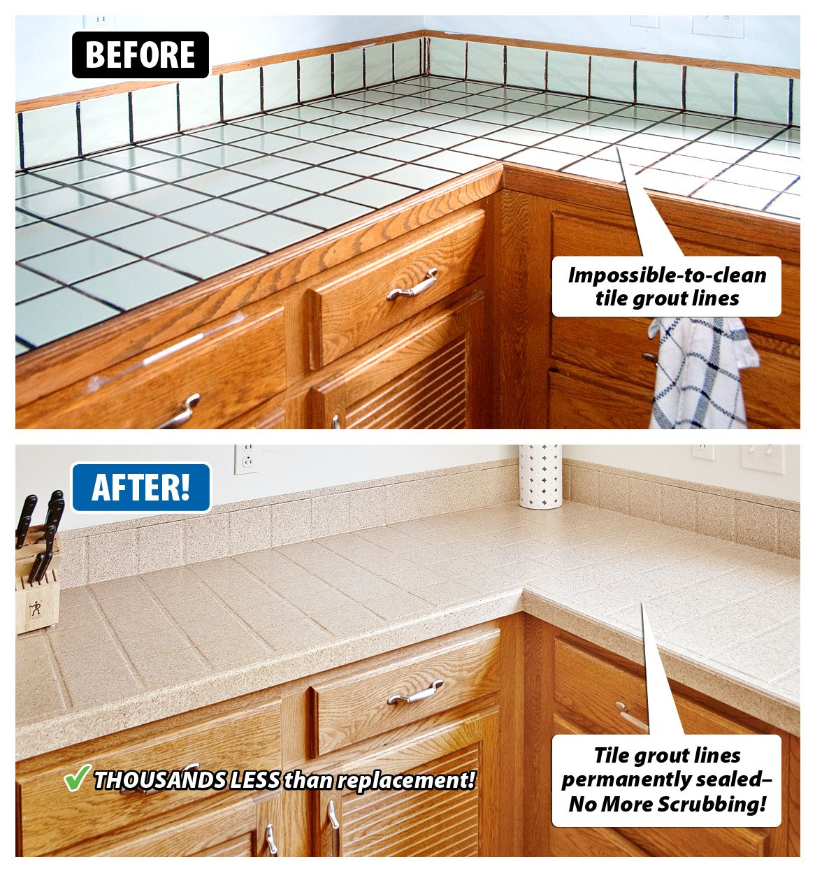 refinishing kitchen countertops black faucet for are your tile dated and worn grout hard to