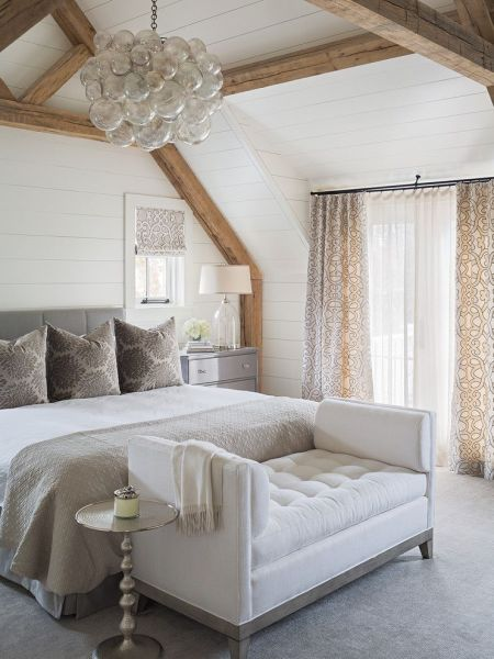 white walls grey ceiling bedroom Elegant master bedroom with floor to ceiling shiplap, exposed wood beams, white walls and grey