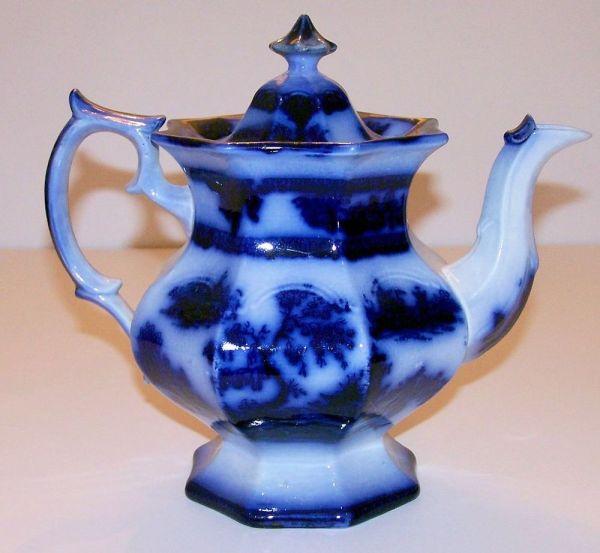 Antique Vintage Flow Blue Teapot - Oriental Style Chapoo