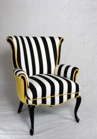 Black and white stripe chair with yellow velvet. Vintage ...