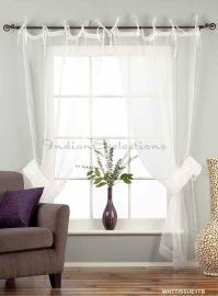 White Sheer Curtains Ideas: White Tie Top Sheer Tissue ...