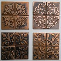 Copper, Kitchen backsplash , SET OF 4 TILES, copper decor ...