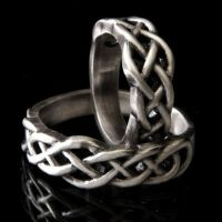 Celtic Knot Wedding Band Set, 925 Sterling Silver Wedding