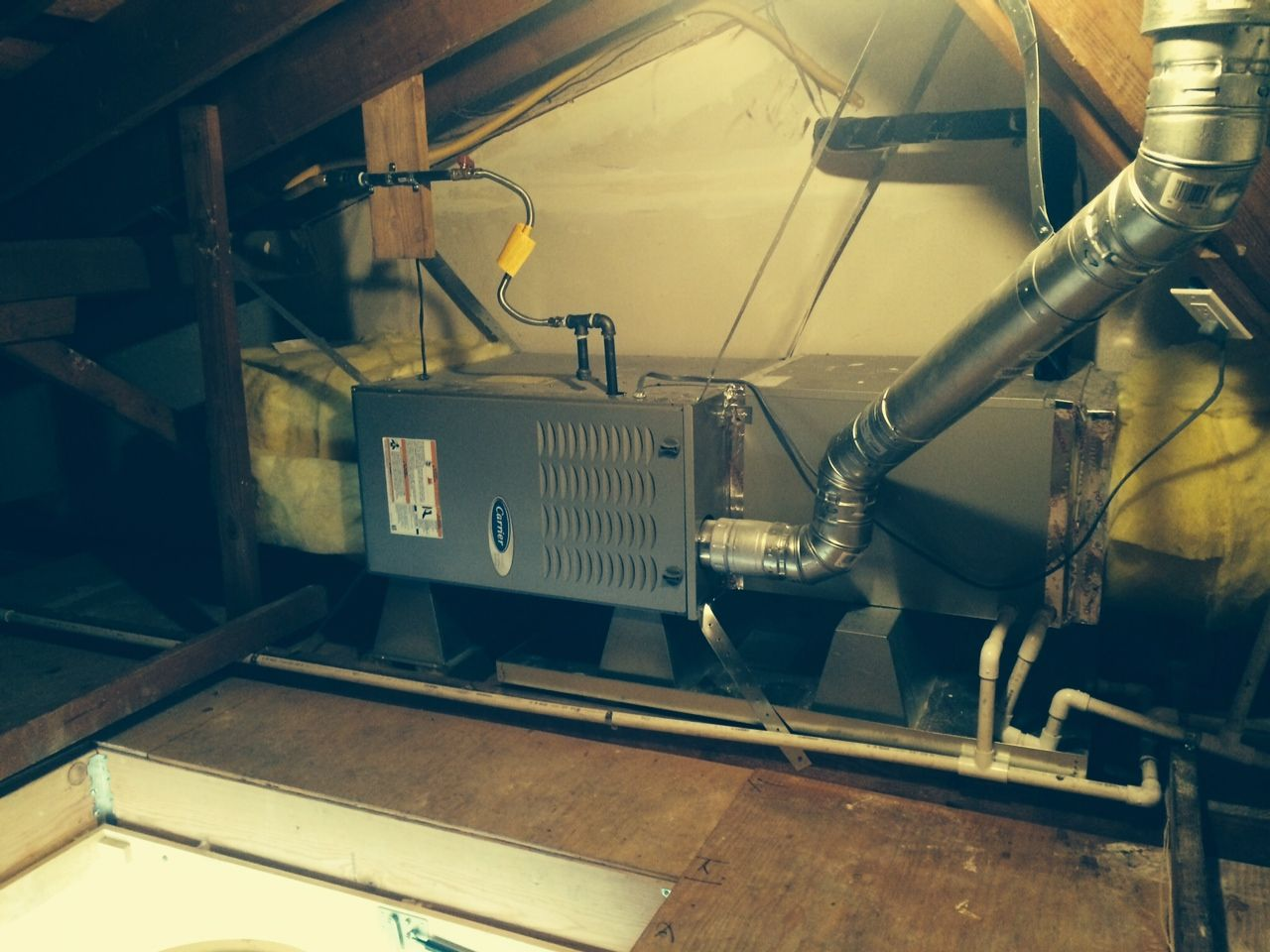Carrier Furnace, horizontal attic installation, great job