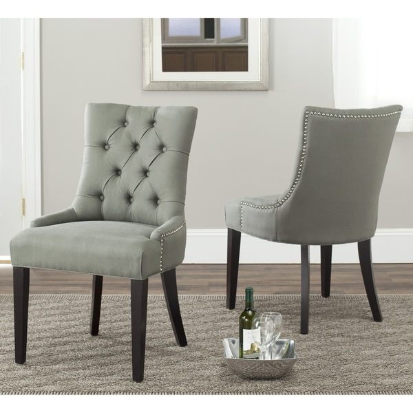 grey tufted dining chairs canada long chair sofa safavieh marseille linen nailhead (set of 2) - overstock™ shopping great ...