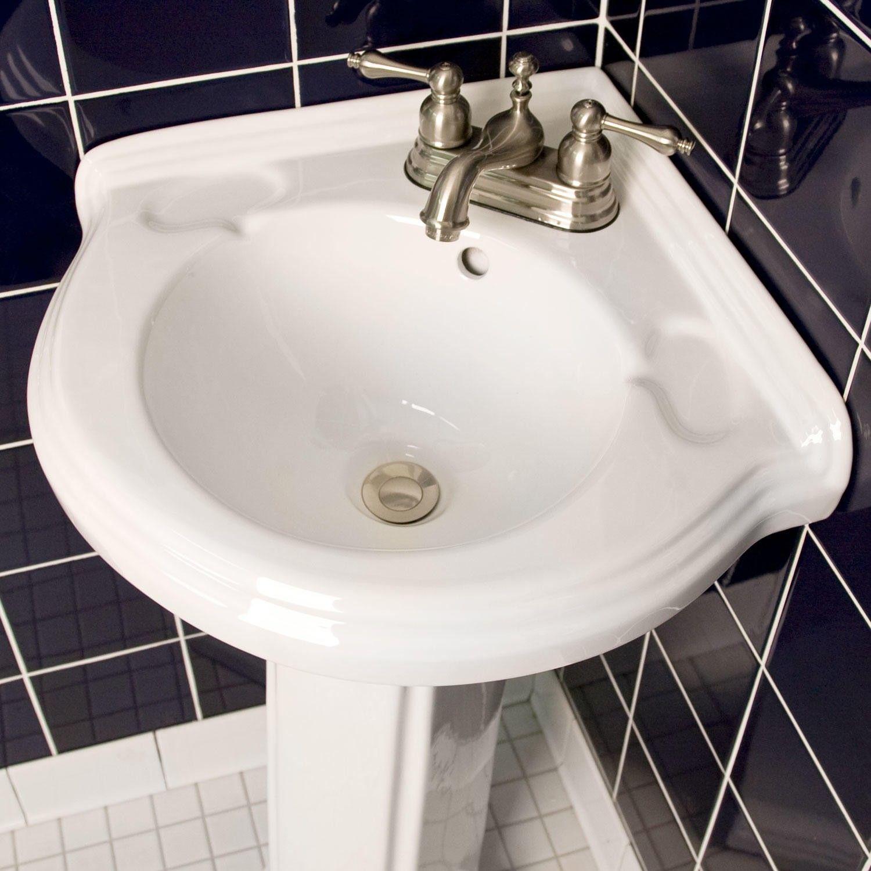 Gaston Corner Porcelain Pedestal Sink