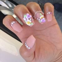Nude colorful floral 3d nail art coffin style nails ...