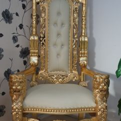 How To Make A Queen Throne Chair Patio Dining Chairs Cheap Lion In Gold Leaf Cream Easiclean Faux