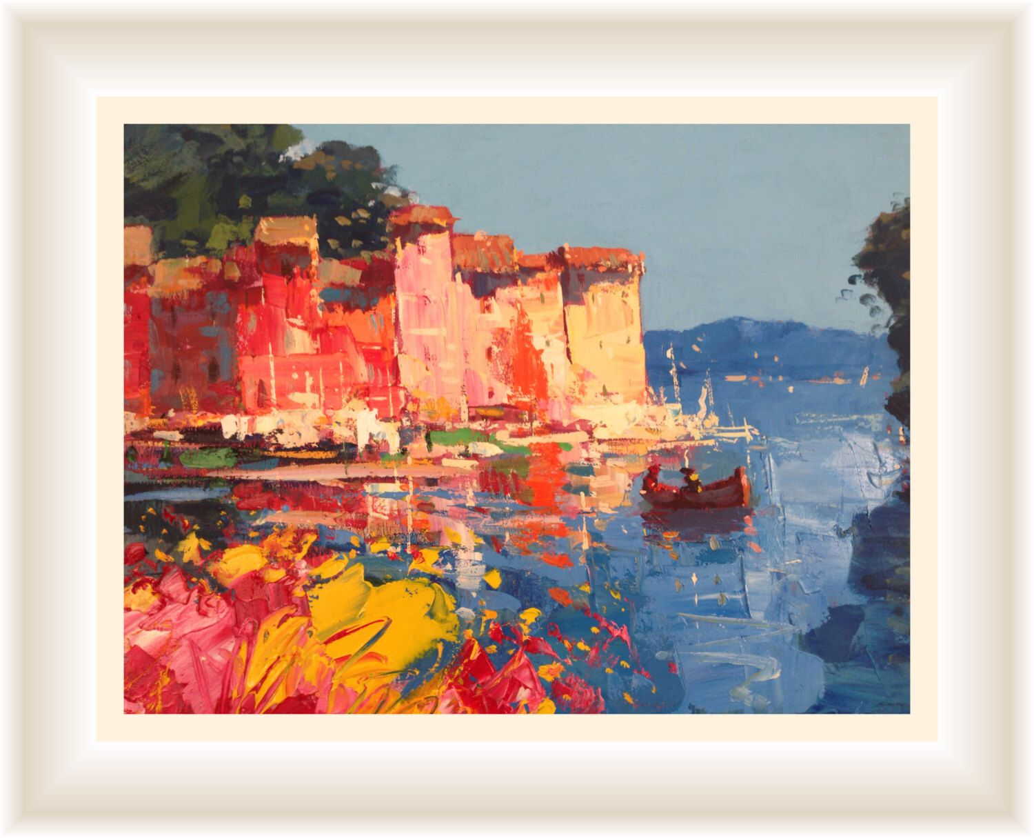 Flowers at portofino original painting abstract oil canvas wall art home decor also rh pinterest