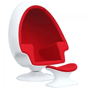 Alpha Egg Chair and Ottoman Red The unconventional shape