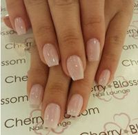 Short Coffin Nails with American Manicure | nails ...