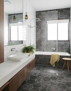 Figr architects bridge house melbourne design bathroomgrey floor tiles also ensuite pinterest rh
