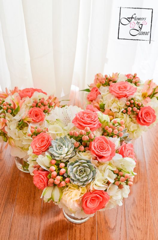 Calgary Bridal Bouquet of white hydrangea coral roses