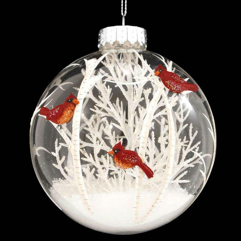Cardinals Scene With White Tree Glass Ornament Cardinals