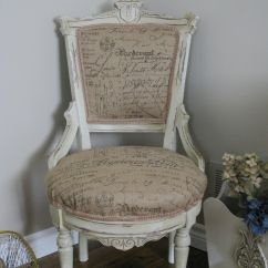 Grey Painted Chairs Swivel Leather Chair Living Room Burlap French Script With Annie Sloan