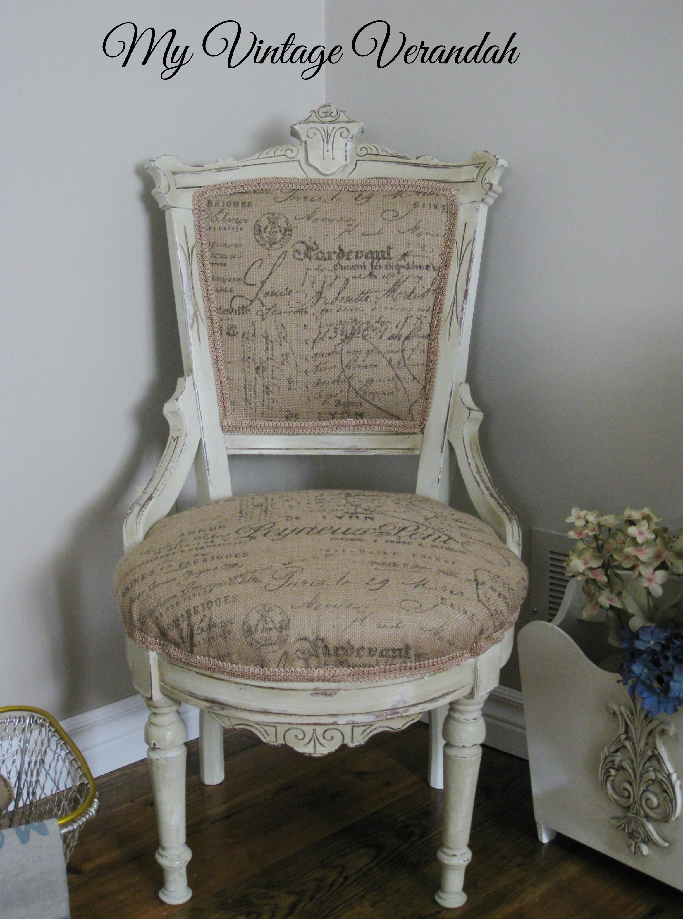 French Script Chair Burlap French Script Chair Painted With Annie Sloan
